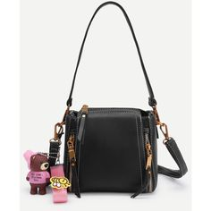 SheIn(sheinside) Bear Decorated PU Shoulder Bag With Handle (375 ARS) ❤ liked on Polyvore featuring bags, handbags, shoulder bags, black, embellished purse, embellished handbags, polyurethane handbags, pu handbags and shoulder handbags