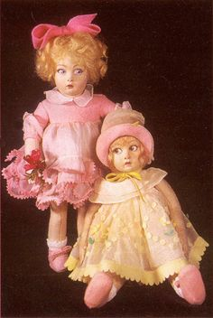 Two Lenci dolls, 14 inch, from the 1930s