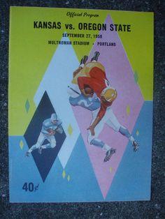 kansas vs. oregon state football program - 1958 from $7.95
