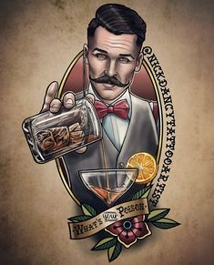 *What's your Poison* I like this style and a bit of colour, but would prefer no realistic faces on my arm Hai Tattoos, Tattoos 3d, Tattoo Henna, Pin Up Tattoos, Body Art Tattoos, Sleeve Tattoos, Tattoos For Guys, Barber Tattoo, Barber Logo