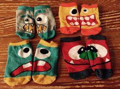 Grey monster, yellow monster, blue monster, & red monster socks