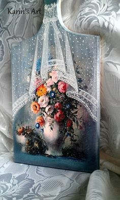 Karin Palalic Candlestick Crafts, One Stroke Painting, Painting On Wood, Lace Painting, China Painting, Watercolor Paintings, Doodle Patterns, Painted Boxes, Pictures To Paint