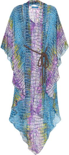Digital Alligator Printed Silkmousseline Kaftan