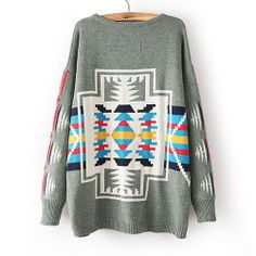 Image of [grxjy560688]Stripes Loose Colorful Embroidered Geometric Pattern Crewneck Sweater Pullover