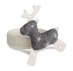Napkin Ring - Deer. Felt - 100% wool, filler - polyester batting. d:5 cm; Deer: 8х6,5 cm. Hand embroidery, hand gathering. Colors: a: white; b: grey melange; c: red.