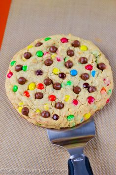 One Giant Monster M Cookie - recipe making 1 large cookie, perfect for sharing or keeping all to yourself! Ready in under 25 minutes.