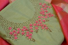 Bullion knot rose embroidery for kurti - Simple Craft Ideas Embroidery On Kurtis, Hand Embroidery Dress, Kurti Embroidery Design, Floral Embroidery Patterns, Hand Embroidery Videos, Embroidery Works, Rose Embroidery, Embroidery Fashion, Embroidery On Clothes