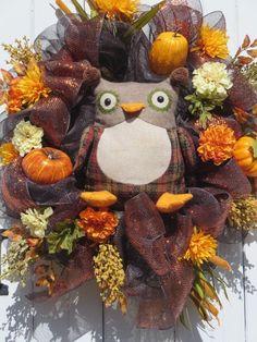 Fall Owl Wreath, Fall Deco Mesh Wreath, Fall Door Wreath, Double Door Wreaths…