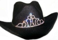 """Miss Rodeo"" Sterling Silver Crystal Cowboy hat tiara"