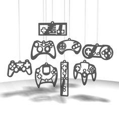 Video Game Controller ornaments - Smoke gray tint acrylic