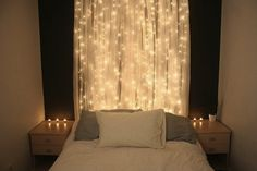 Curtained Headboard with Lights