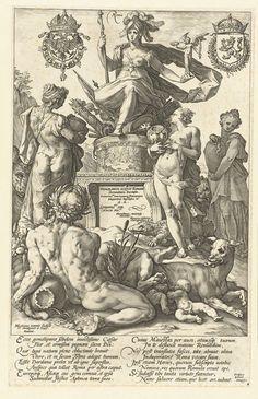 Hendrick Goltzius | Titelprent voor prentserie De Romeinse helden, Hendrick Goltzius, 1586 | De godin Rome ('Roma'), gezeten op een zetel van wapens op een sokkel, in haar linkerhand een beeldje van de godin van de overwinning. Bij de sokkel staan een vrouw met een os (Europa), een vrouw met een leeuw (Azië) en een vrouw met een krokodil (Afrika). Op de voorgrond ligt de stroomgod van de Tiber en de wolvin die Romulus en Remus zoogt. Onder de voorstelling twee coupletten van acht versregels…