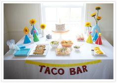 fiesta birthday party....for food: black beans, cheese (cubed), salsa, avie, tortillas, cut up mango, etc. etc. Simple cupcakes