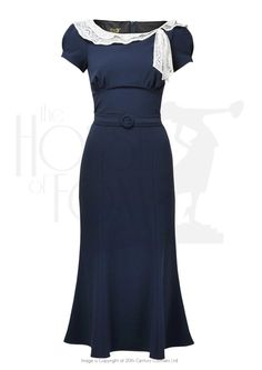 1930s Charm Dress - navy £139.00 AT vintagedancer.com
