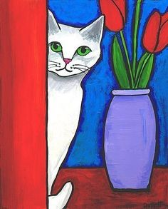 White Cat and Red Tulips Print Shelagh Duffett by AliceinParis