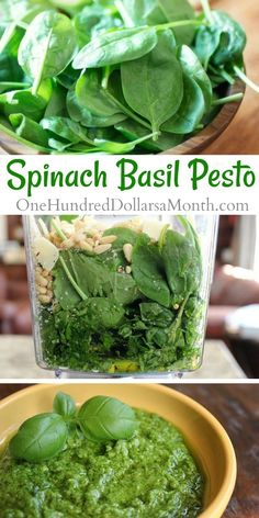 Spinach Basil Pesto - One Hundred Dollars a Month