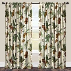 The Evergreen Pine cones sheer curtain panel by Laural Home will bring a traditional, warm cabin feel into your home. The evergreen pine cone design features beautiful green and brown pine cones and e Sheer Curtain Panels, Rod Pocket Curtains, Window Panels, Rustic Curtains, Drapes Curtains, Cabin Curtains, Country Curtains, Lodge Style, Lodge Decor