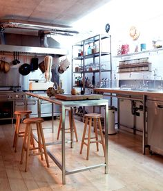Add concrete or tile floors with a drain in the middle of the room and this is my dream kitchen. Make a mess, create beautiful dishes...hose everything down when done :)