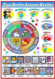 This site has a gazillion printables   - English worksheet: DAYS OF THE WEEK- MONTHS- SEASONS- WEATHER (B VERSION INCLUDED)