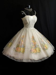 Vintage 50's floral chiffon tea length wedding dress $400