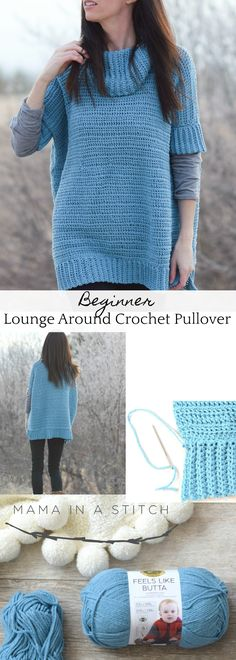 This oversized pullover sweater is SO soft. Made with Lion Brand chenille yarn. knit hat lion brand Softest Lounge Around Pullover Crochet Pattern Crochet Jacket, Crochet Cardigan, Crochet Sweaters, Crochet Shrugs, Crochet Tops, Easy Crochet, Poncho Pullover, Pullover Sweaters, Poncho Sweater