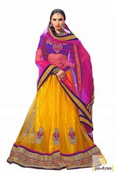 Pavitraa #Yellow, #Pink and Blue Stunning #Lehenga Choli