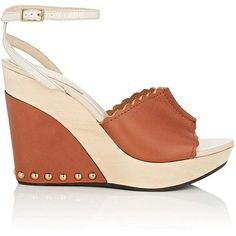 Chloé Women's Leather Wedge Ankle-Strap Sandals (11.635 UYU) ❤ liked on Polyvore featuring shoes, sandals, brown, brown platform sandals, brown high heel sandals, platform wedge sandals, ankle strap wedge sandals and brown leather sandals