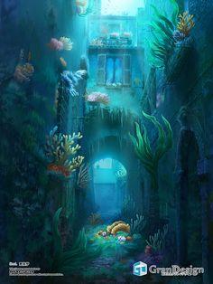 Fantasy City, Fantasy Places, Fantasy World, Fantasy Art Landscapes, Fantasy Landscape, Fantasy Artwork, Illustration Manga, Underwater City, Creation Art