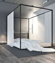 Love the uber simple, straight lines of this bed. Think I'd want the mattress up off the floor though :)