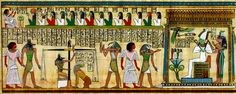 Egyptian Final Judgement.  Your deeds are measured and if you're found worthy you are presented at the veil to enter the presence of the gods.