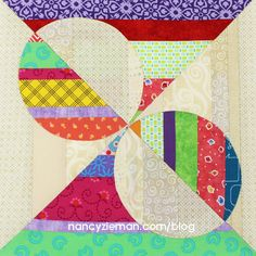 It's time for the September Quilt Block of the Month! The ninth quilt block design in the 2016 Quilt Extravaganza is named Opposing Half Circles. As you may have suspected, the quilt blocks c. Quilting For Beginners, Quilting Tips, Quilting Tutorials, Quilting Projects, Quilting Designs, Embroidery Designs, Art Projects, Kids Patterns, Quilt Block Patterns