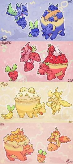 Applin with different fruits Pokemon Fake, Pokemon Alola, Pokemon Pokedex, Pokemon Fan Art, Pokemon Fusion, Cute Pokemon, Pokemon Regions, Pokemon Breeds, Rpg