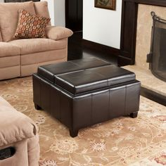 220525 - Mansfield Leather Espresso Tray Top Storage OttomanMultipurpose ottoman features a darkly stained, sturdy wood frame Two large interior storage spaces This storage ottoman also features two flip-over lids that double as serving trays  Product Dimensions: 31 x 31 x 18.75