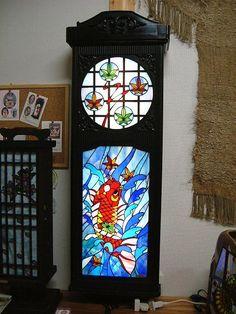 骨董品の柱時計を使った照明器具