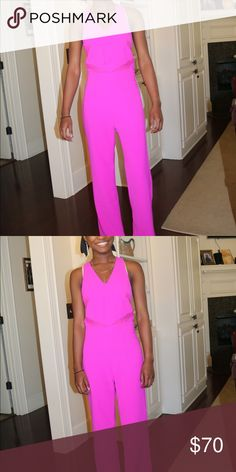 Hot Pink Junpsuit Used for peprally, worn once. Very flattering on and very classy. Received many compliments on this stunning piece Sugarlips Pants Jumpsuits & Rompers