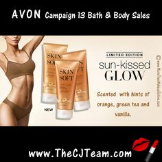Avon Skin So Soft Satin Glow Firming Body Lotion. Avon. Moisturizes, firms skin, evens tone and enhances radiance. See a naturallooking glow after just 3 days. Regularly $11. Shop online with FREE shipping with any $40 online Avon purchase. #Avon #CJTeam #Sale #SummerSkin #SatinGlow #Savings #SkinSoSoft #SSS #Lotion #Avon4Me #C13 #SunKissed Shop Avon online @ www.TheCJTeam.com