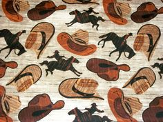 Cowboy Fabric, By The Yard, David Textiles, Western Fabric, Cowboy Hats, Quilting Fabric, Sewing Crafting Fabric, Novelty Fabric, Horses by NeedlesnPinsStichery on Etsy