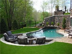 pool and sunken fire pit