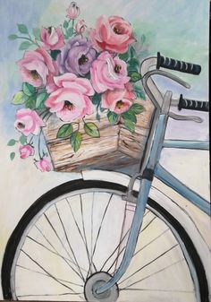 large acrylic by Wilma Potgieter on Fb South African Artists, Girls With Flowers, Pictures To Paint, Pink Roses, Painting & Drawing, Drawings, Om, Gifts, Presents
