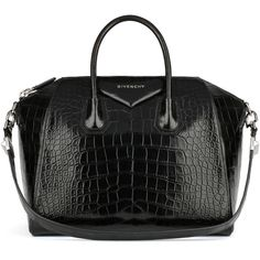 Givenchy Antigona Crocodile Medium Satchel Bag, Black (€31.495) ❤ liked on Polyvore featuring bags, handbags, givenchy, givenchy tote, tote hand bags, givenchy purse, structured purse and man tote bag
