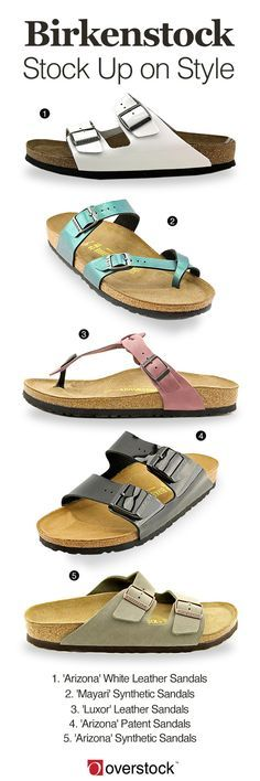 "Enjoy the sheer comfort of these relaxing sandals from Birkenstock. With deeply cushioned footbeds that are designed to fit the shape of your foot, these sandals provide extra support in a variety of colors in styles. Stay fresh with revised takes on the iconic two-strap ""Arizona"" in white and patent leather or express your personal style in the colorful ""Mayari."" Get free shipping and earn up to 5% rewards back when you join Club O."