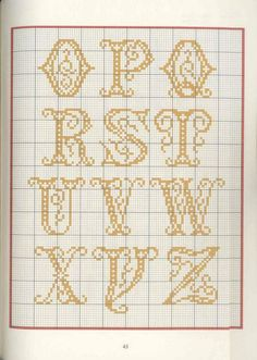 Cross Stitch Letters, Cross Stitch Borders, Cross Stitching, Cross Stitch Embroidery, Needlepoint Patterns, Cross Patterns, Embroidery Patterns, Stitch Patterns, Plastic Canvas Letters