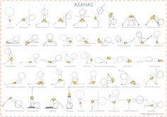 cute asana chart for kids but with the real sanskrit names. would be nice to rename poses and use in kids class Iyengar Yoga, Asana, Yoga Stick Figures, Namaste, Yoga Bewegungen, Vinyasa Yoga, Basic Yoga Poses, Learn Yoga, Yoga Positions