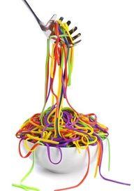 Cook spaghetti then fill ziplock 1/4 with water add food coloring. Add spaghetti... coolest idea ever!!!
