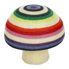 Anne-Claire Petit - Mix Stripe Mushroom Crochet Pouf - 40 x 34cm