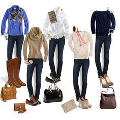 """10 Piece Fall Wardrobe - Jeans 5 ways"" by crystaljoyce on Polyvore"