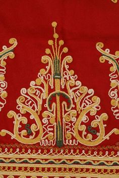 Red felt apron embroidered with colourful outres (cordons) and fringed end,Detail of the central, stylized, vegetal motif ,Euboea Greek Traditional Dress, Traditional Art, Greek Costumes, Dance Costumes, Embroidery Dress, Embroidery Art, Greek Culture, Greek Apparel, Folk Dance