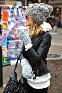 Winter Outfit With Black Leather Jacket and Beanie