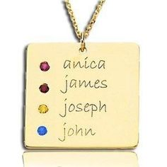mothers necklace square necklace with up to 5 kids names and birthstones in silver - What To Get Your Mother In Law For Christmas