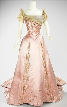 pink silk & wheat embroidery ballgown dress, ca 1900